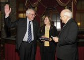 Senator Sanders swearing into office with his wife