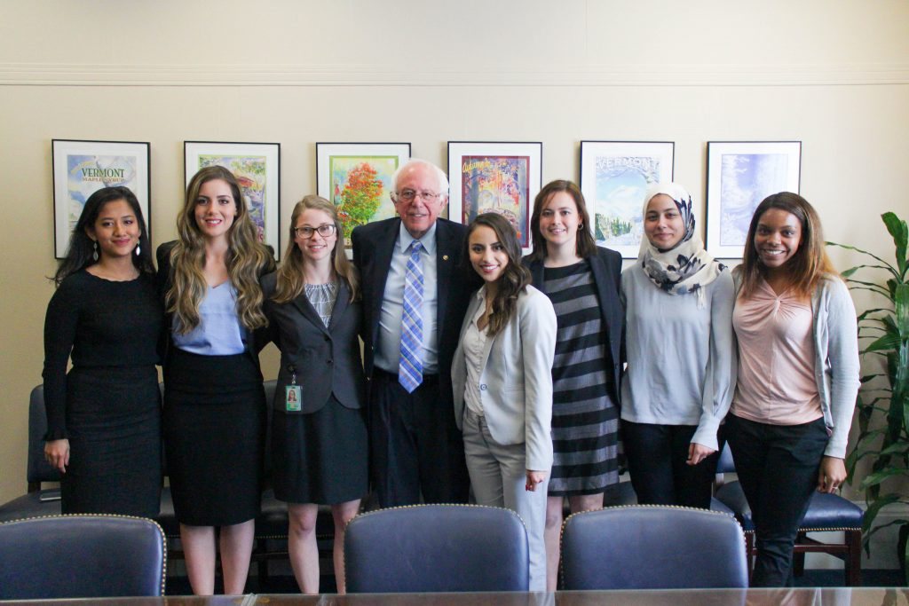 Senator Sanders with interns