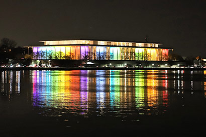 Kennedy Center lighted up in the evening