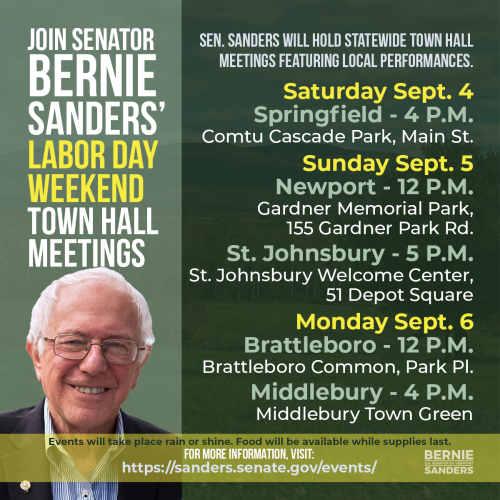 Infographic with a photo of the Senator and a list of town meeting dates for Labor Day Weekend in Vermont